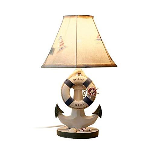QWE Nachttisch-Cartoon-Hochzeitstischlampe, Bootsmodell, Lampenschirm Aus Stoff, E27-Tischleuchte, Druckschalter, Nachttischlampen,Bildfarbe,A - Tischleuchte Neon