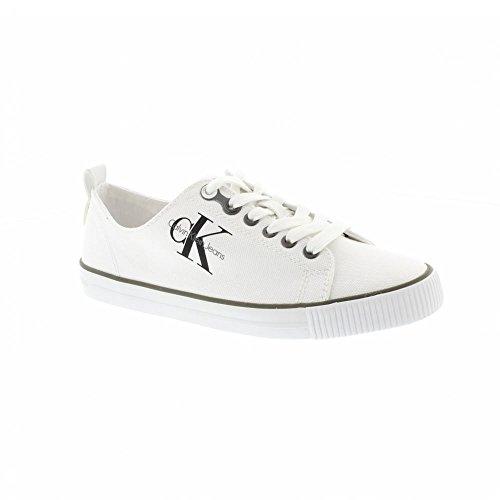Calvin Klein Dora Canvas Wht, Zapatillas para Mujer, Marfil (White R3556Wht), 38 EU