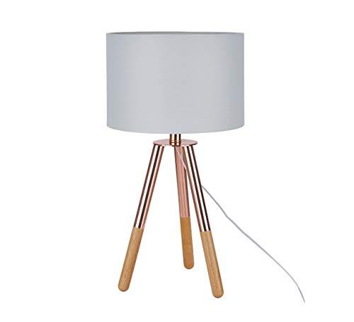Sit Möbel This & That Tischleuchte Gestell Hevea und Eiche, Schirm Textil L = 30 x B =30 x H = 55 cm Gestell kupferfarbig und Natur, Schirm Hellgrau