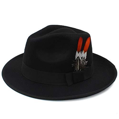 England Kostüm Männlich - MXL Hut koreanische Version des Hutes männlich England Hut Hochzeit Hut Flut Retro Mode Jazz Hut weiblich England Fedora Hut (Farbe : Schwarz, Größe : 56-58cm)