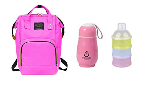 Perfect Pricee Baby Mummy Backpack Travel Maternity Diaper Bag with 1Pc Thermos Bottle Stainless Steel Vaccum Mug for Kids with 3 Layer Portable Baby Food Storage Container (Dark Pink)