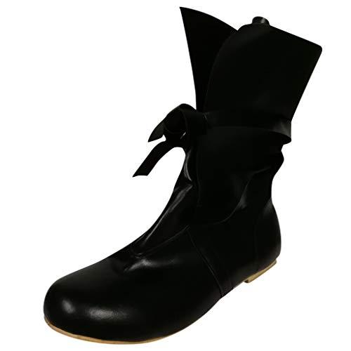 Dorical Schnürstiefeletten mit Absatz für Damen/Frauen Übergrößen Stiefeletten Schnürboots Stiefel Schwarz Damenstiefel leicht gefüttert Gr 35-43(Schwarz,35 - Pflege Übergröße Kostüm