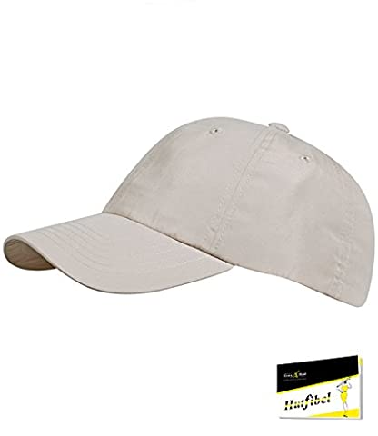 Fiebig Herrenbasecap Basecap Baseballcap Sommercap Kappe Streetwear einfarbig One size mit Klettverschluss für Männer (FI-47268-S16-HE2-4-58) in beige, Größe 58 inkl. EveryHead-Hutfibel