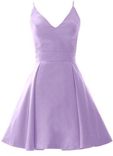 MACloth Elegant V Neck Mini Prom Homecoming Dress Wedding Party Formal Gown Lavande