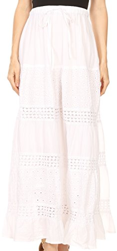 Gonna di Sakkas Genesis leggera in cotone con cintura elastica bianca
