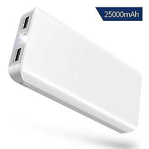 Bateria Externa Movil 25000mAh Power Bank Cargador Portátil Inalámbrico con Alta Capacidad,2 Salidas USB 2.1A/1A,Entrada 2A,LED Linterna y 4 Indicadores LED para iPhone,iPad,Huawei y Más Dispositivos