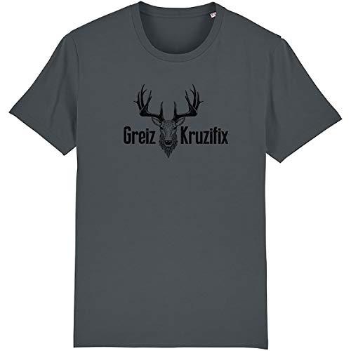 Trachten T-Shirt Greiz Kruzifix Bio Baumwolle S-3XL Trachtenshirt Oktoberfest Bayrisch Wiesn Lederhosen Männer Herren Hirsch Österreich (Anthracite-Schwarz, L)