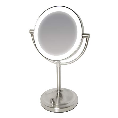 Miroir en acier brossé à éclairage LED variable, sans fil et grossissant x7