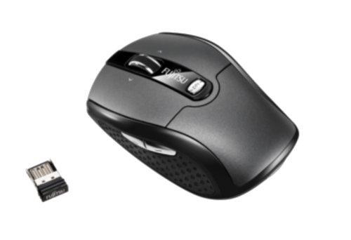 Fujitsu WI610 drahtlose optische Maus (2000dpi, 5-Tasten) silber/schwarz