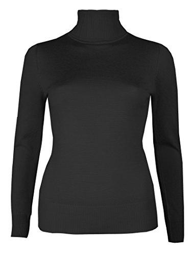 Brody & Co. - Maglioncino a collo alto, da donna, finemente cucito a maglia, maglione invernale, a tinta unita Slate