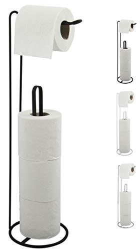MSV Toilettenpapierhalter Stehend BxHxT: 15x54x15cm freistehender Papierrollenhalter Edler Rollenhalter für WC-Rollen als Ersatzrollenhalter Schwarz matt