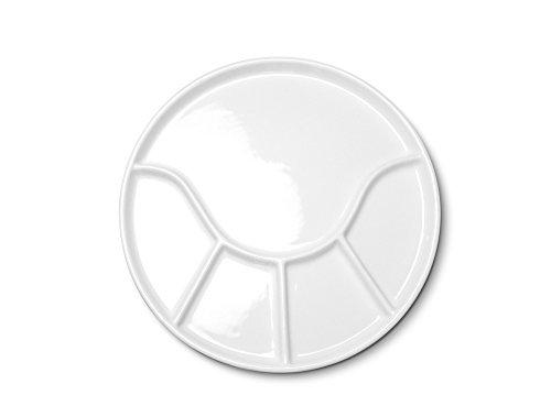 10er SET kela Fondueteller ANNELI 21 cm rund in weiß glänzend