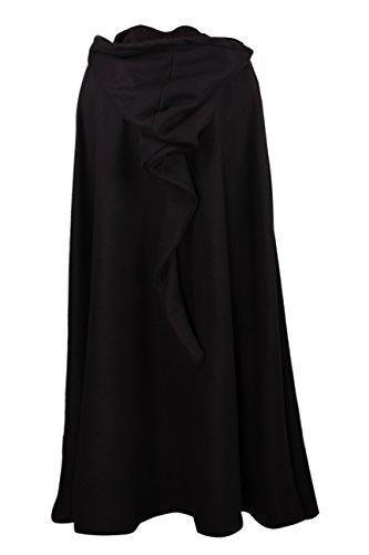 Mittelalterlicher Kapuzenumhang – wärmend – schwarz – 130cm - 3