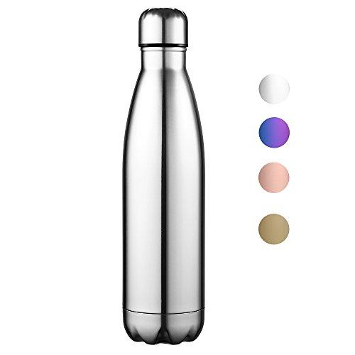 Anjoo Thermosflasche 500ml , Vakuum Isolierflasche 0.5L, Kein BPA Sport Wasserflasche - 24 Std...