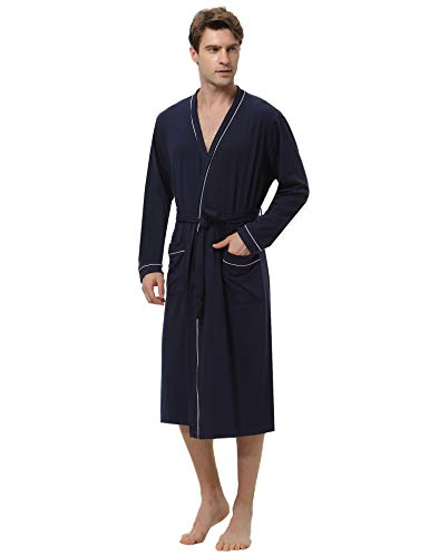 Aibrou Herren Lange Leicht Baumwolle Bademantel Einfarbiges Morgenmantel mit Gürtel Marineblau S