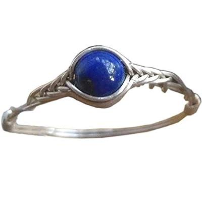 56.5# Bague en argent avec pierre de lapis lazuli naturelle 925 faite à la main
