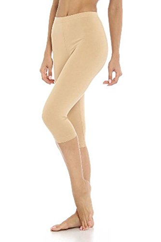 Damen Baumwoll-Stretch-Soft Ebene 3/4 unter Knie Ernte Leggings-Farben & Größen(ladies ¾ under knee)Ref:2191 cotton (Medium, Tan(tan)) (Tan Ernte)