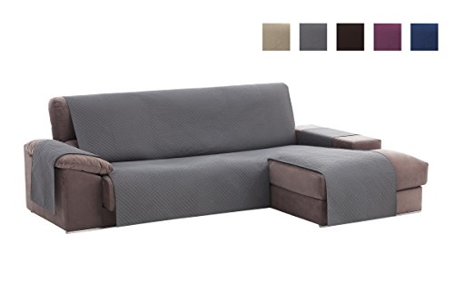 textil-home Sofa Cover Adele Chaise Longue Sofa, Protector for Right Arm Quilted Sofas. Size -240cm. Gray Color (Seen FROM Front)