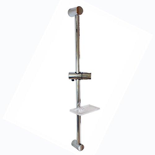 sanixa Barre de douche avec support ajustable télescopique barre de support et porte-savon/de douche laiton chromé/Halte ABS chromé Barre de douche barre murale Douche