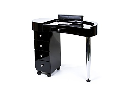 Professional Manicure Table Nail Station (Black)