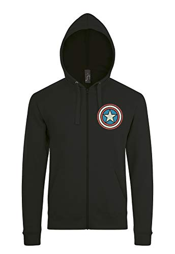(Urban Kingz Bestickter Herren Zip Hoodie - Kapuzenpullover mit Reißverschluss und Brust Stick, Modell Captain America, Schwarz, Gr. M)