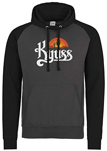 LaMAGLIERIA Unisex- Baseball Hoodie Kyuss K01 - Kapuzenpullover Rock Metal Band, XL, Charcoal/Jet Black -