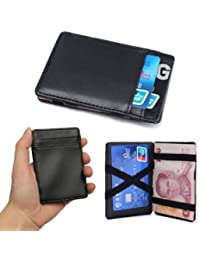 SLB Works Brand New Black Soft PU Leather Magic Wallet ID Money Clip Credit Card Holder Case Purse