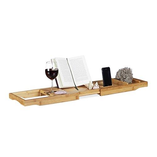 Relaxdays Badewannenablage Bambus, ausziehbares Badewannenbrett mit Buchstütze und Glashalter, HBT: 19x107,5x23cm, natur
