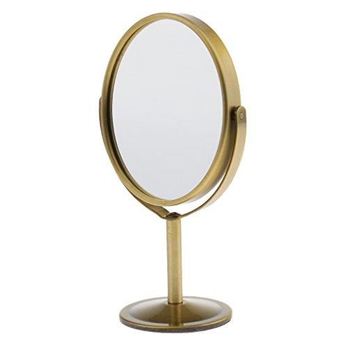 MagiDeal Doppelseitiger Tischspiegel, Vergrößerung Kosmetikspiegel, Standspiegel 360 Grad Drehbar Spiegel - Bronze, 75 x 93 mm