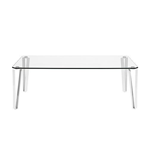 Furniture R Table Basse en Verre Trempé Salon Rectangulaire Cadre Blanc en Métal