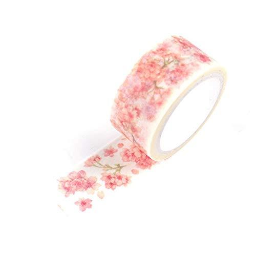 Joyfeel buy 1 Rollen Masking Klebeband DIY Washi Tape Rosa Kirschblüten Zweige Schönes Klebeband Deko für Handkonto Album Gedenkbuch, 2CM*7M -