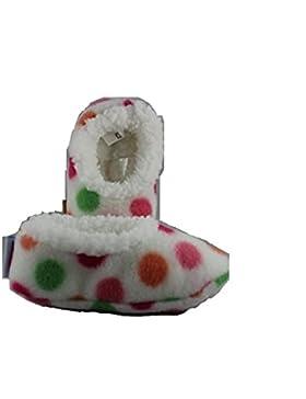 Out of the blue - Baby Snoozies - Baby Hausschuhe, weiß mit bunten Punkten, Größe L, 6 - 12 Monate, Plüsch, antirutsch...
