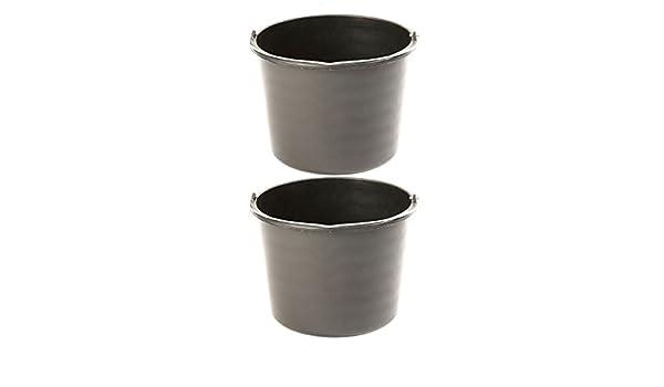 2x Uniqat M/örteleimer 20 Liter Schwarz mit Skala Baueimer
