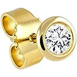 Diamond Line Unisex-Single-Diamant-Ohrstecker 14 Karat (585) Gelbgold / Weißgold von ca. 0.05-0.20ct Weiß Piquè