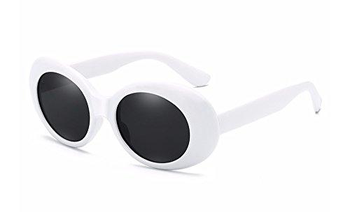 BOZEVON Retro Ovale Sonnenbrille - UV400 Schutzbrillen Frauen für Männer Weiß-Schwarz C1