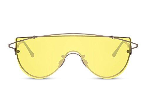 Cheapass Sonnenbrille Groß Silber Gelb UV-400 Männer-Brille Metall-Rahmen Herren Jungs