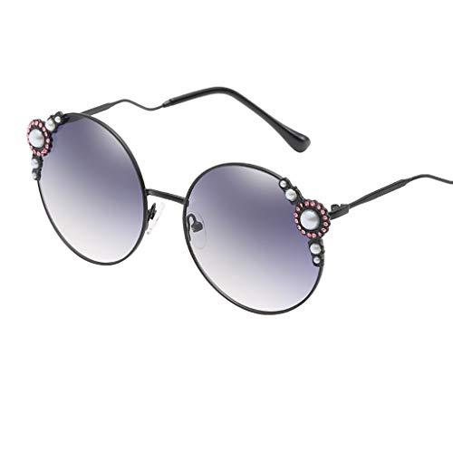 REALIKE Damen Klassische Übergroße Sonnenbrille Vintage Brille Glänzend Verbundrahmen Frauen Gold...
