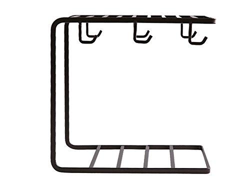HJHY® Küchenregale, Regal Küche Eisen Kunst Doppel Geschirr Gewürz Siedlung Waschbecken Hotel Lagerregal nicht schlagen 23 * 15 * 24 cm Wasserdicht Einfach sauber ( Farbe : Schwarz ) (Tasse Und Untertasse-display-rack)