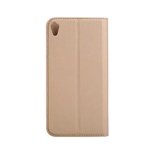 EKINHUI Case Cover Ultra Slim Leichtgewicht PU Ledertasche mit Clear TPU Back Cover & Card Slot & Kickstand & Magnetic Closure für SONY Xperia XA1 ( Color : Red ) Gold