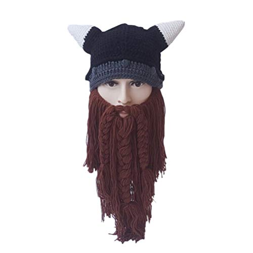 Amosfun Herbst Winter Wikinger Mützen Gestrickte Lange Bart Hüte Ox Horn lustige Hut Halloween Kostüme warme Mützen Party Maske Cosplay Geburtstagsgeschenk (braun)