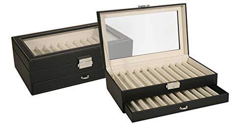 Caja expositor de piel para 12 bolígrafos o plumas con tapa transparente y cierre de seguridad con llave. Medidas: 27 x 16,5 x 9cm