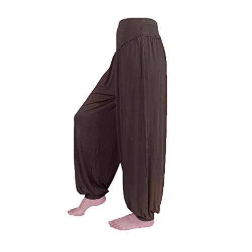 Pants Harem Yoga Pilates Sarouel Femmes Pantalon Fluide Femme SANFASHION(café Fluide,2XL)