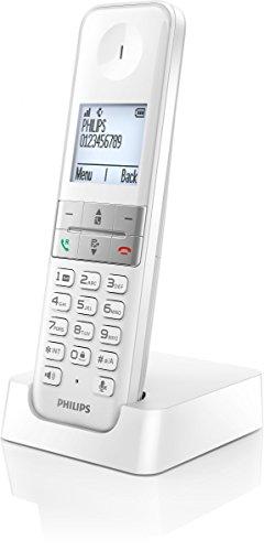 Philips D4501W - Teléfono inalámbrico Dect (manos libres, pantalla 4.6 cm), blanco