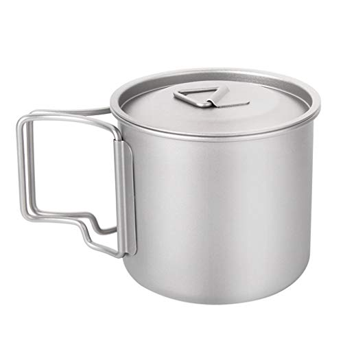 Syeytx Ultraleicht Titanium Cup Picknick im Freien Titanium Water Mug mit Klappgriffen Trinken Camping Cups 300/350/550/650 / 750ML