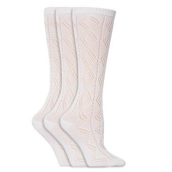 Mädchen Spitzen-Kniestrümpfe, Weiß, Schulmädchen Socken (3 Paar) (EUR 31.5-36 (8-12 Jahre)) (Weiß) (Weiße Mädchen Kniestrümpfe)