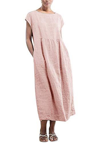 Yidarton Kleider Damen Lang Sommer Elegant Strandkleid Kurzarm Rundhalsausschnitt Casual Lose Maxi Kleider mit Taschen (Rosa, XXL)