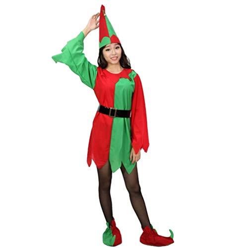 JEELINBORE Kinder Weihnachtself Kostüm Cosplay Eltern-Kind Weihnachtskostüm Xmas Fancy Dress mit Gürtel Jungen Mädchen - Elf, 110 (Für höhe 106-115cm)