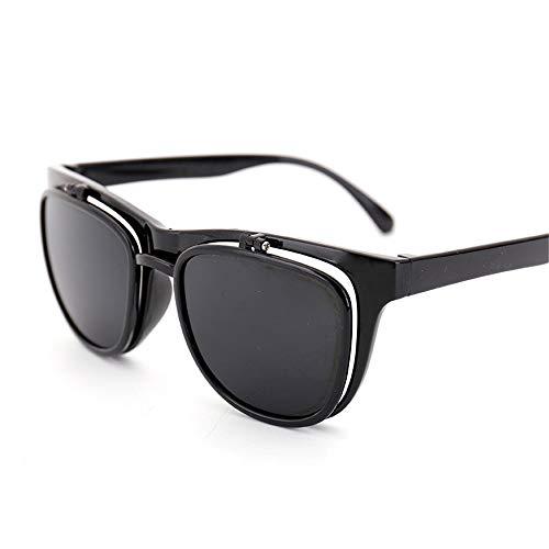 Männer und Frauen Reiten Radfahren Outdoor-Sportarten Brillen Sonnenbrillen Männer und Frauen Brillen Kreative Multifunktions-Doppelobjektiv-Sonnenbrille Brille (Farbe : Schwarz, Größe : Free Size)