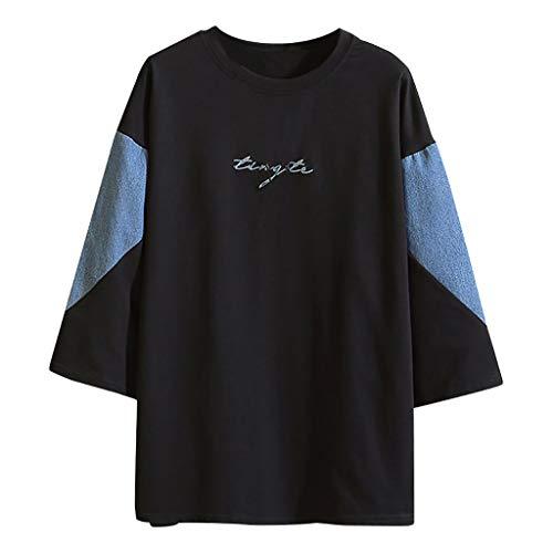 Junioren Waffel (Haughtily Herren Patchwork Farbe Halbarm T-Shirt Buchstabe Stickerei Oansatz Casula Plus Größe Lose Tops Bluse)