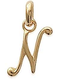 "ISADY - Scripta Gold "" N "" - Pendant - Initial Alphabet Letter Script - 750/000 (18 Carat) Gold plated"